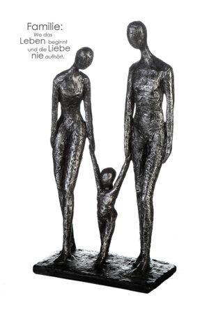 Skulptur Familie - Dekoobjekt Mutter, Vater mit Kind - Familien Dekofigur