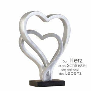 Doppelherz Skulptur Hearts - Dekoobjekt Herzen in Silberoptik