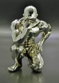 Athlet Fitness Sport Skulptur Workout, Dekofigur Körper-Training - Silberoptik