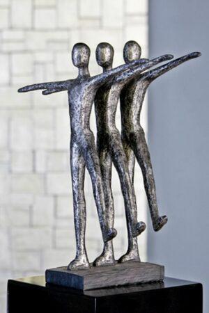 Casablanca Skulptur Ballett auf schwarzer Base Poly/Metall antik/silber