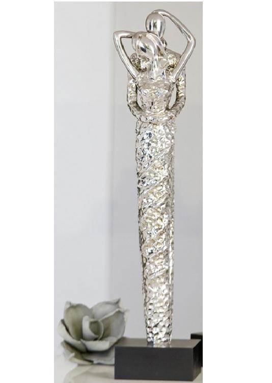 Skulpturen Amore - Liebespaar in Silber auf Sockel, 51 cm - Hochzeit Dekofigur