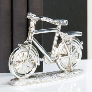 Bike Retro Fahrrad Skulptur Deko Herrenrad, antik-silber