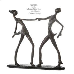 Tanz Skulptur Jive - Tanzendes Paar Dekoobjekt mit Zitatanhänger