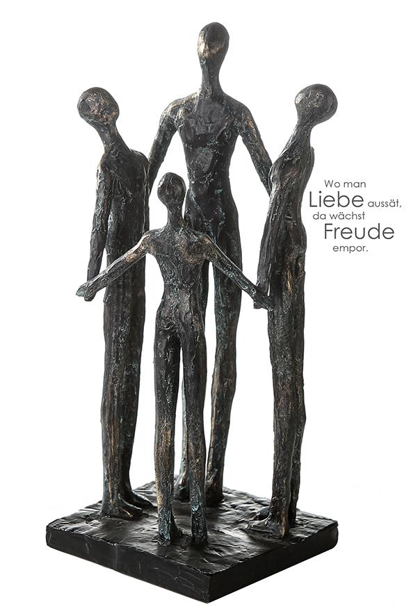 Skulptur Group - Gruppe im Kreis, Freundeskreis, Familienkreis - Bronzeoptik mit Zitatanhänger
