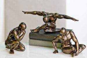 Athlet Fitness Sport Skulptur Workout, Dekofigur Körper-Training - Bronzeoptik