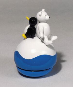 Holz Wackelfigur mit Spieluhr Eisbär mit Pinguin - Melodie: let me be your teddy bear