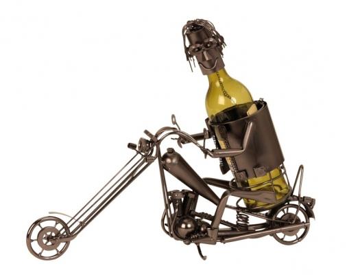Motorrad Flaschenhalter Chopper Flaschenständer Motorradfahrer Skulptur
