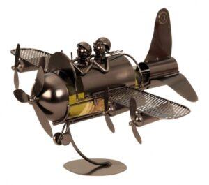 Flaschenhalter Skulptur Flugzeug - Pärchen im Propellerflugzeug als Weinflaschenhalter