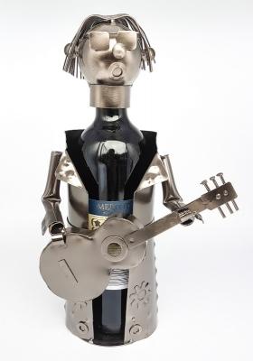 Wein-Flaschenhalter Gitarrist Skulptur Gitarrenspieler - Musiker Flaschenständer aus Metall