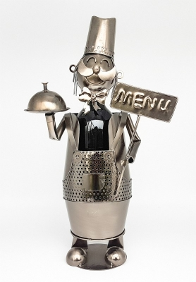 Flaschenhalter Kellner Skulptur Koch Metall Weinflaschenständer