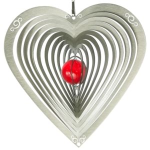 Mobile HERZ ORNAMENT - Edelstahl Windspiel mit rote Glaskugel, Kugellager