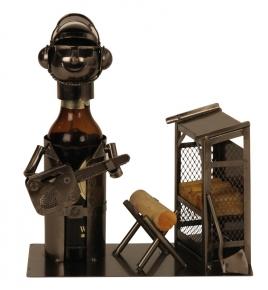 Flaschenhalter Baumfäller Skulptur Holzarbeiter Metall Flaschenständer