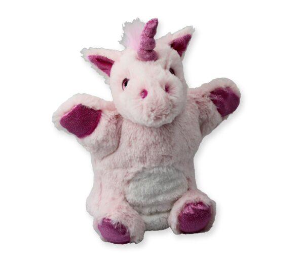 Handpuppe Einhorn pink - Kuscheltier Fabelwesen- Plüschtier - Schmusetier - Super Soft Plüsch