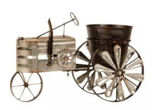 Metall-Blumentopf Traktor - Trecker Skulptur mit Windrad - Blumentopfhalter