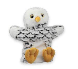 Schnee-Eule Handpuppe Hedwig- Kuscheltier Plüschtier - Schmusetier - Super Soft Plüsch Schneeeule