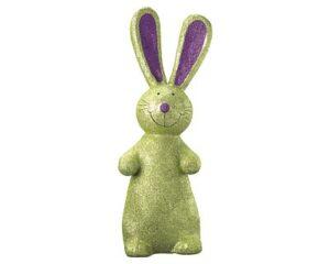 Mila Glitzer Hase - Pappmaché Hase stehend - grün