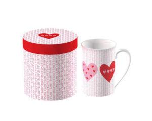Vabene Design Becher Herzen - Porzellanbecher mit Geschenkbox -