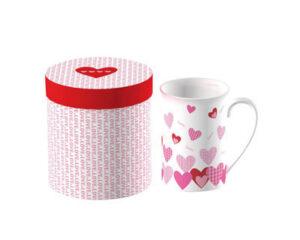 Vabene Design Becher Herzen - Porzellanbecher mit Geschenkbox - viele Herzen