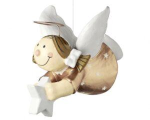 Pappmachefigur Sterntaler fliegend mit Stern - Schutzengel zum Hängen