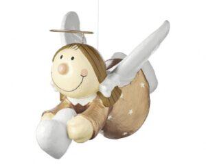Pappmaché Mila Engel - Schutzengel - Sterntaler fliegend, 40 cm - kupfer