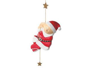 Pappmaché Niko am Seil kletternd - Mila Weihnachtsmann Dekofigur zum hängen