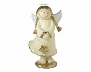 Mila Engel Deko Figur Lisa mit Stern - Medium + XL Schutzengel - Creme