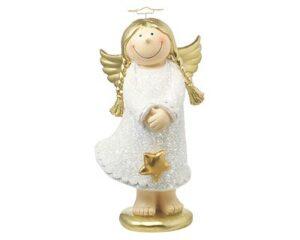 Mila Engel Deko Figur Lisa, Schutzengel weiß mit Glitter