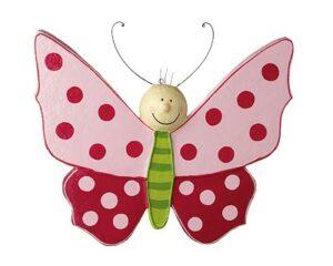 Mila Schmetterling Lovely Butterflies - Pappmaché Schmetterling - rot / rosa