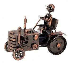 Weinflaschenhalter Traktor Skulptur Treckerfahrer Flaschenständer