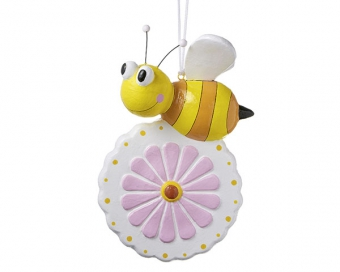 Mila Summertime Pappmache Biene auf Blume - Dekofigur zum hängen
