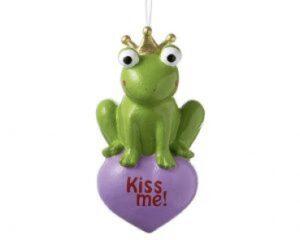 Mila Frosch Kiss me - Pappmache Froschkönig mit Herz Figur