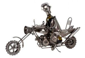 XXL Wein-Flaschenhalter Motorradfahrer Skulptur Flaschenständer Biker mit Motorrad, Metall