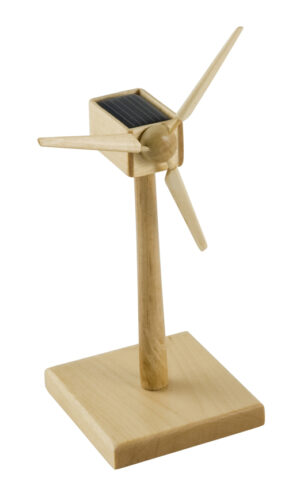 Solar Windgenerator Holz FSC, 15 cm - Bausatz - Enercon Windmühle - Windturbine - Windkraftanlagee - Windenergie