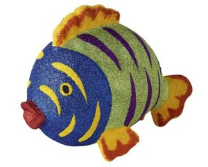 Mila Pappmaché Fisch - Glitzerfisch Dekofigur zum aufhängen -blau-grün