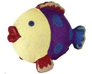 Mila Pappmaché Fisch - Glitzerfisch Dekofigur zum aufhängen - lila-blau