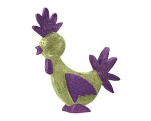 Mila Pappmaché Hahn - grün mit lila