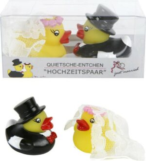 Ente Hochzeitspaar Quitsche Entchen Brautpaar in Geschenkbox (2er Set)