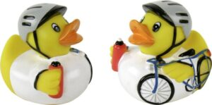 Badequietscheentchen Radrennfahrer - Badeente Radfahrer mit Helm und Trinkflasche Badeente Radfahrer, Gummiente, Quietscheente, Radsport Plastikente Ente