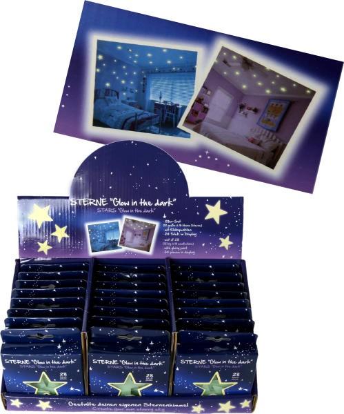 phosphoreszierende Sterne, Glow in the dark, 28er Set - Traumsterne - Leuchtsterne im Geschenkset