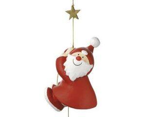 Pappmaché Santa Claus am Seil kletternd - Nikolaus Figur zum hängen