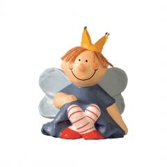 Pappmaché Prinzessin Elfe Dekofigur sitzend rot