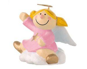 Mila Engel Pappmaché Sternchen auf einer Wolke sitzend - rosa
