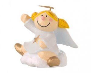 Mila Engel Pappmaché Sternchen auf einer Wolke sitzend - weiß