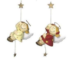 Mila Pappmachefiguren Sterntaler, kletternd - Schutzengel zum Hängen, beige oder rot