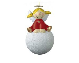 Mila Pappmaché Engel Sternchen auf einem Schneeball sitzend - rot oder gold