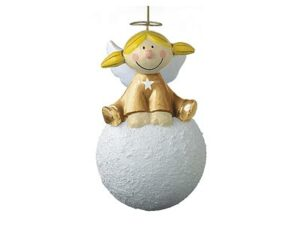 Mila Pappmaché Engel Sternchen auf einem Schneeball sitzend - rot oder gold 6840_02