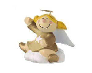 Mila Engel Pappmachefigur Sternchen auf einer Wolke sitzend - Schutzengelfigur zum Hängen oder Stellen, gold
