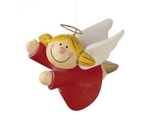 Mila Pappmaché Engel Sternchen fliegend - rot
