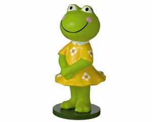 Pappmaché Mila Frosch im gelben Kleid stehend