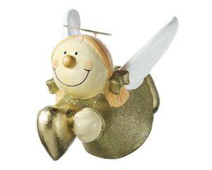 Engel Sterntaler fliegend mit Herz - Mila Deko Hängefigur - Schutzengel in Glitteroptik gold 45847